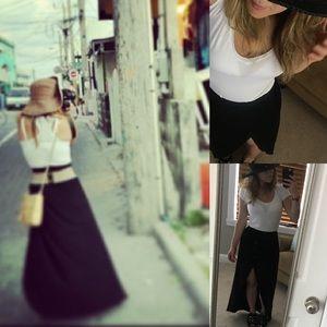 ASOS petite maxi skirt split open front black 2 4